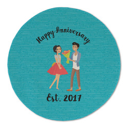 Happy Anniversary Round Linen Placemat (Personalized)