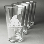 Happy Anniversary Beer Glasses (Set of 4) (Personalized)
