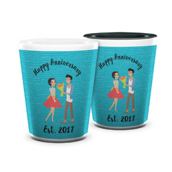 Happy Anniversary Ceramic Shot Glass - 1.5 oz (Personalized)
