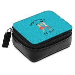 Happy Anniversary Small Leatherette Travel Pill Case (Personalized)