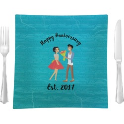 """Happy Anniversary 9.5"""" Glass Square Lunch / Dinner Plate- Single or Set of 4 (Personalized)"""