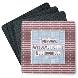 Housewarming 4 Square Coasters - Rubber Backed (Personalized)