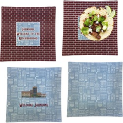 """Housewarming Set of 4 Glass Square Lunch / Dinner Plate 9.5"""" (Personalized)"""