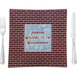 """Housewarming Glass Square Lunch / Dinner Plate 9.5"""" - Single or Set of 4 (Personalized)"""