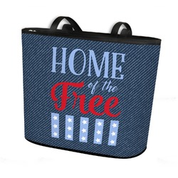 American Quotes Bucket Tote w/ Genuine Leather Trim (Personalized)
