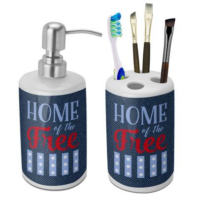 American Quotes Ceramic Bathroom Accessories Set