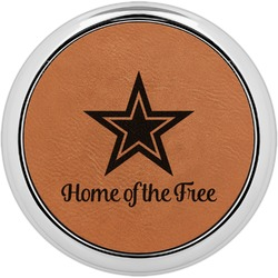 American Quotes Leatherette Round Coaster w/ Silver Edge - Single or Set (Personalized)