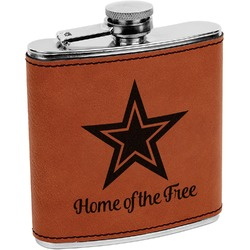 American Quotes Leatherette Wrapped Stainless Steel Flask (Personalized)