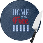 American Quotes Round Glass Cutting Board (Personalized)