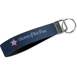 American Quotes Wristlet Webbing Keychain Fob (Personalized)