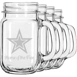American Quotes Mason Jar Mugs (Set of 4) (Personalized)