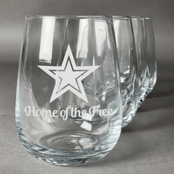 American Quotes Wine Glasses (Stemless- Set of 4) (Personalized)