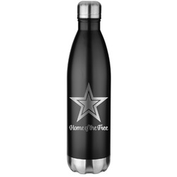 American Quotes Black Water Bottle - 26 oz. Stainless Steel  (Personalized)