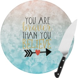 Inspirational Quotes Round Glass Cutting Board - Small (Personalized)