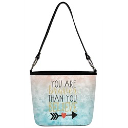 Inspirational Quotes Bucket Bag w/ Genuine Leather Trim