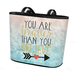 Inspirational Quotes Bucket Tote w/ Genuine Leather Trim (Personalized)