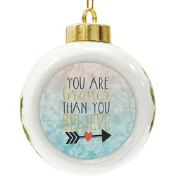 Inspirational Quotes Ceramic Ball Ornament (Personalized)