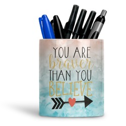 Inspirational Quotes Ceramic Pen Holder