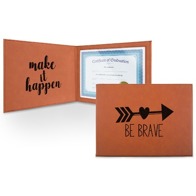 Inspirational Quotes Leatherette Certificate Holder