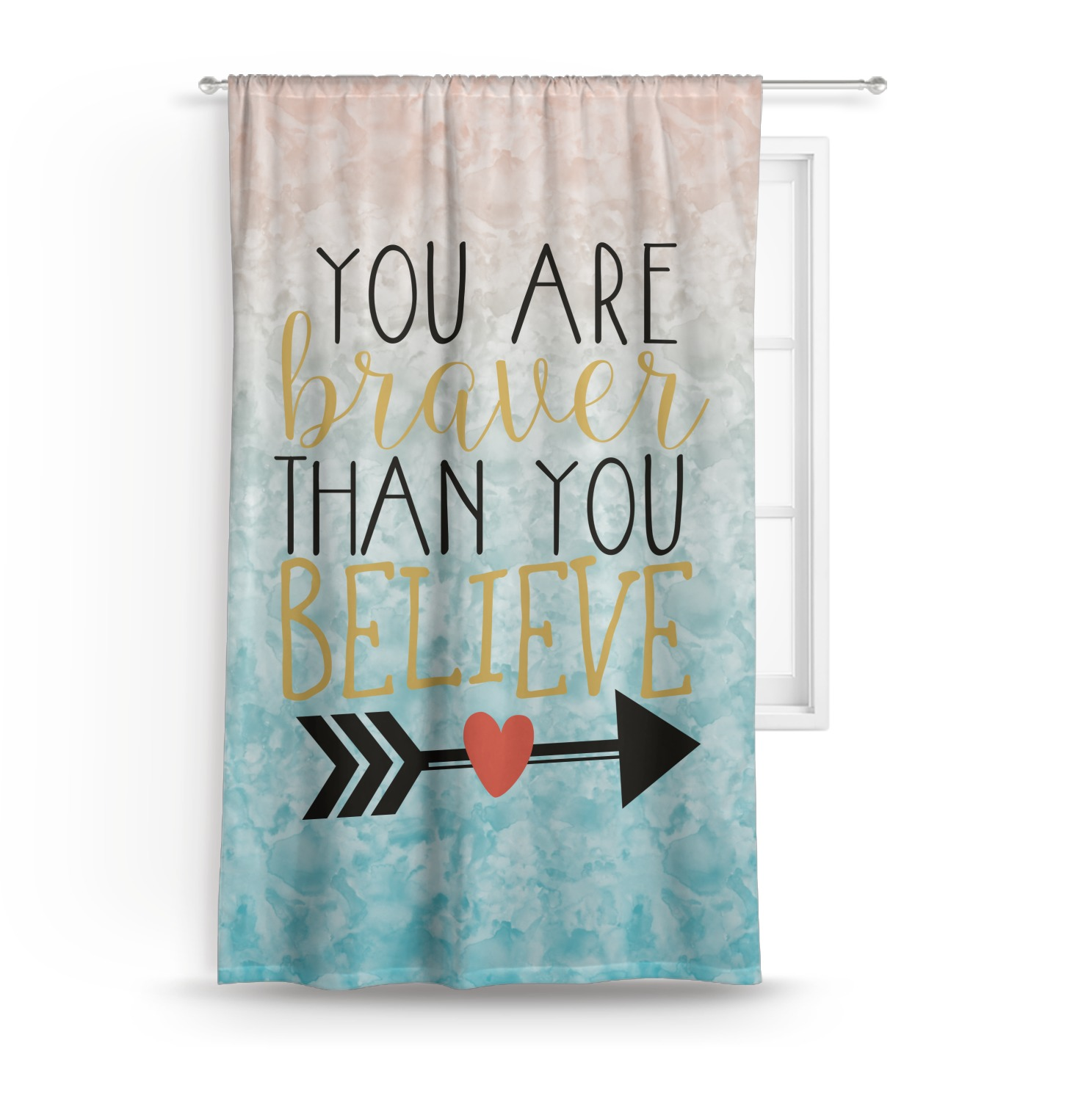 Inspirational Quotes Custom Sized Curtain Panel
