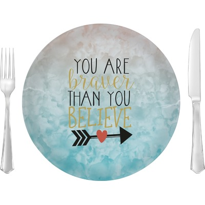 """Inspirational Quotes 10"""" Glass Lunch / Dinner Plates - Single or Set"""