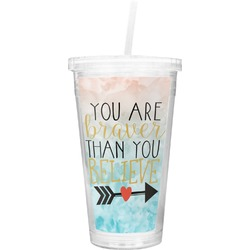Inspirational Quotes Double Wall Tumbler with Straw (Personalized)