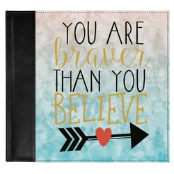 Inspirational Quotes Genuine Leather Baby Memory Book (Personalized)