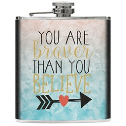 Inspirational Quotes Genuine Leather Flask (Personalized)