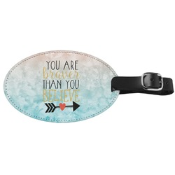 Inspirational Quotes Genuine Leather Oval Luggage Tag (Personalized)