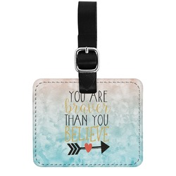 Inspirational Quotes Genuine Leather Rectangular  Luggage Tag (Personalized)