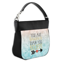 Inspirational Quotes Hobo Purse w/ Genuine Leather Trim (Personalized)
