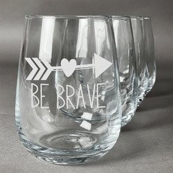 Inspirational Quotes Wine Glasses (Stemless Set of 4) (Personalized)