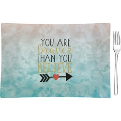 Inspirational Quotes Glass Rectangular Appetizer / Dessert Plate - Single or Set (Personalized)