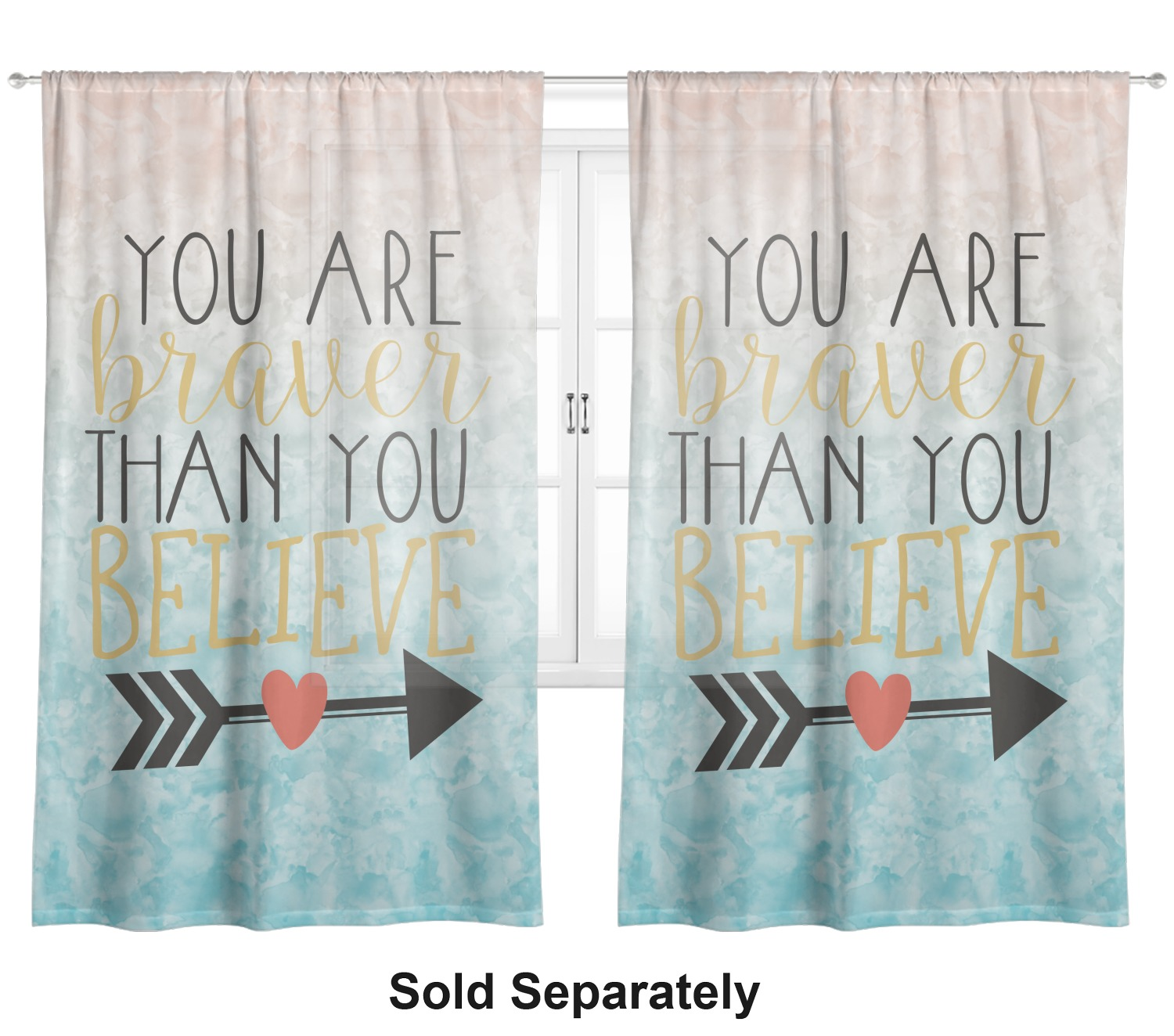Inspirational Quotes Sheer Curtain