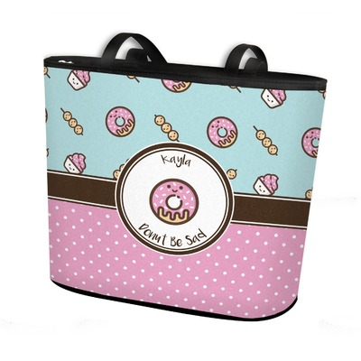 Donuts Bucket Tote w/ Genuine Leather Trim (Personalized)