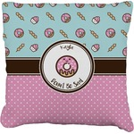 Donuts Faux-Linen Throw Pillow (Personalized)