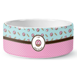 Donuts Ceramic Dog Bowl (Personalized)