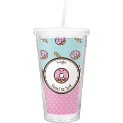 Donuts Double Wall Tumbler with Straw (Personalized)