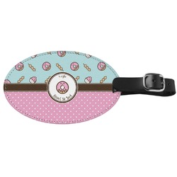 Donuts Genuine Leather Oval Luggage Tag (Personalized)