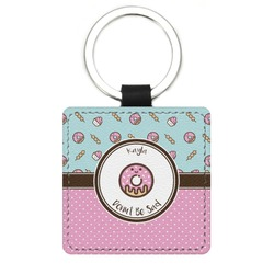 Donuts Genuine Leather Rectangular Keychain (Personalized)