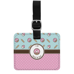 Donuts Genuine Leather Rectangular  Luggage Tag (Personalized)