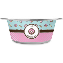 Donuts Stainless Steel Dog Bowl (Personalized)