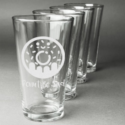 Donuts Beer Glasses (Set of 4) (Personalized)