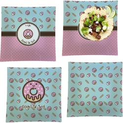"""Donuts Set of 4 Glass Square Lunch / Dinner Plate 9.5"""" (Personalized)"""