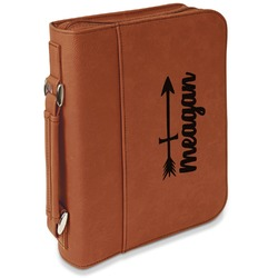 Tribal Arrows Leatherette Book / Bible Cover with Handle & Zipper (Personalized)
