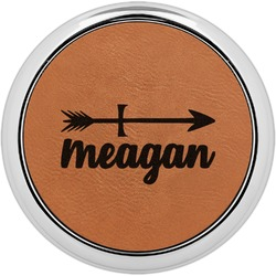 Tribal Arrows Leatherette Round Coaster w/ Silver Edge - Single or Set (Personalized)