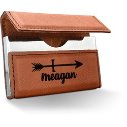 Tribal Arrows Leatherette Business Card Holder (Personalized)