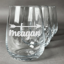 Tribal Arrows Stemless Wine Glasses (Set of 4) (Personalized)