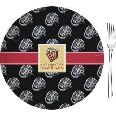"""Movie Theater 8"""" Glass Appetizer / Dessert Plates - Single or Set (Personalized)"""