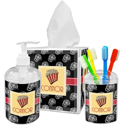 Movie Theater Acrylic Bathroom Accessories Set w/ Name or Text